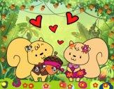 Dibujo Ardillas enamoradas pintado por Mia_lol