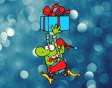Duende huyendo con un regalo