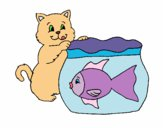 Dibujo Gato y pez pintado por manchikita