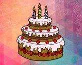 Dibujo Tarta de cumpleaños pintado por mairta