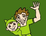 Padre e hijo saludando