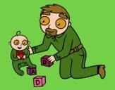 Padre jugando con bebé
