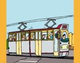 Dibujo Tranvía con pasajeros pintado por queyla