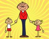 Dibujo Padre con sus hijos pintado por alejo2008