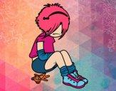Dibujo Chica EMO pintado por AnaStones