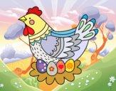 Gallina con huevos de Pascua