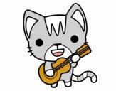 Dibujo Gato guitarrista pintado por AnaStones
