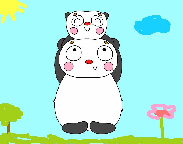 Mamá panda con su cría