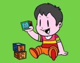 Niño con piezas