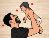Dibujo Padre y bebé pintado por krusty