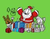Papá Noel con regalos y alegría