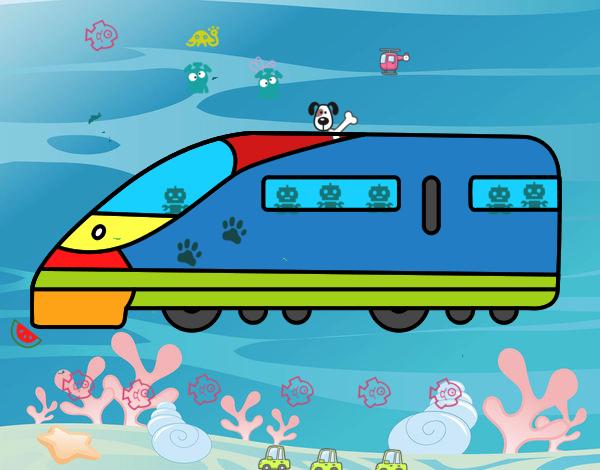 Dibujo Tren rápido pintado por Geduncho