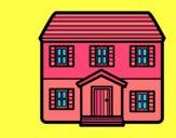 Dibujo Casa con dos pisos pintado por ojodehorus