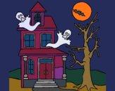 Dibujo Casa fantansma pintado por queyla