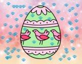 Dibujo Huevo de Pascua con pájaros pintado por nalia