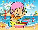 Dibujo Niño con xilófono pintado por lesliy