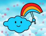 Dibujo Nube con arcoiris pintado por nalia