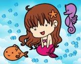 Dibujo Sirenita y sus amigos pintado por nalia