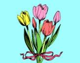 Dibujo Tulipanes con lazo pintado por LIZIllamin