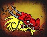 Dibujo Cabeza de dragón rojo pintado por esmelu