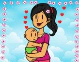 Dibujo En brazos de mamá pintado por LunaLunita