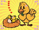 Dibujo Mamá pájara pintado por LunaLunita