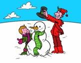 Padre e hijo en la nieve