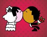 Dibujo Beso de recién casados pintado por lou05