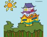 Dibujo Casa japonesa pintado por queyla