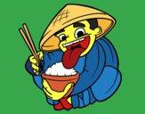 Dibujo Chino comiendo arroz pintado por queyla