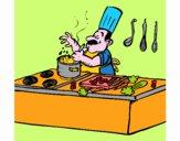 Cocinero en la cocina