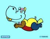 Dibujo Decathlon - Hipopótamo nadador pintado por Cris16