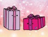 Dibujo Dos regalos pintado por milanyela