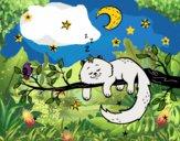 Dibujo El gato y la luna pintado por queyla