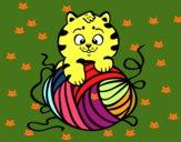 Dibujo Gato con ovillo de lana pintado por layer0321