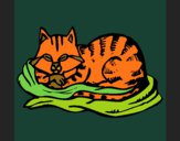 Dibujo Gato en su cama pintado por queyla
