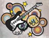 Dibujo Guitarra y estrellas pintado por TobiKiller