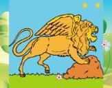 Dibujo León alado pintado por LunaLunita