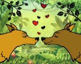 Dibujo Lobos enamorados pintado por queyla