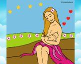 Dibujo Madre con su bebe pintado por LunaLunita
