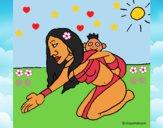 Dibujo Madre e hijo Itzianos pintado por LunaLunita