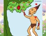Dibujo Maya en un árbol frutal pintado por LunaLunita