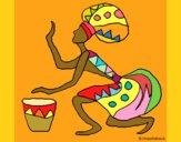 Dibujo Mujer con tambor pintado por GabyMil