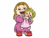 Dibujo Niña con su muñeca pintado por allymahone