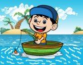 Dibujo Niño pescando pintado por queyla