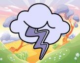 Dibujo Nube con rayo pintado por queyla