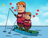 Dibujo Padre e hijo pescando pintado por LunaLunita