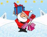 Dibujo Papá Noel con regalos pintado por LunaLunita