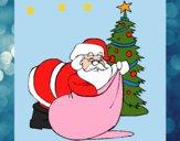 Dibujo Papa Noel repartiendo regalos 1 pintado por LunaLunita