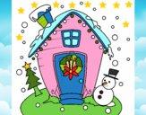Dibujo postal de navidad pintado por LunaLunita